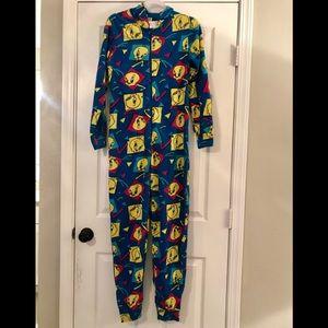 Tweety Bird Long Onsie Pajamas with hood